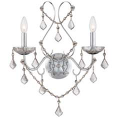 Vienna Full Spectrum 2-Light Chrome and Crystal Wall Sconce