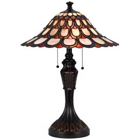 Mission Tiffany Style Bronze Table Lamp