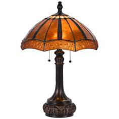 Golden Sunset Bronze and Mica Shade Tiffany Style Table Lamp
