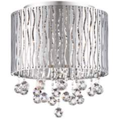 "Wave Drum 16 1/4"" Wide Chrome Ceiling Light"