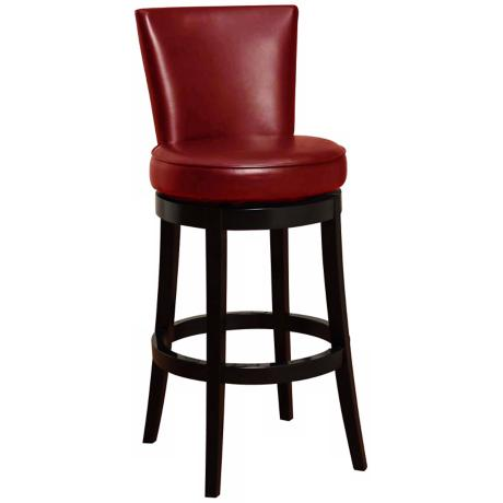 "Boston 26"" High Red Leather Swivel Counter Stool"