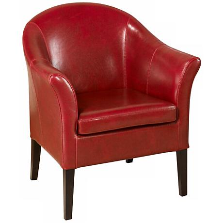 1404 Red Bycast Leather Club Chair