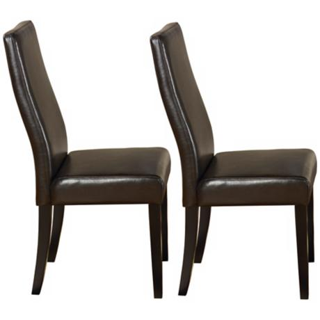 Set of 2 Brown Leather Side Chairs