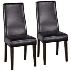 Set of 2 Black Leather Side Chairs