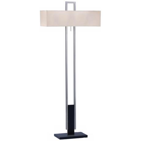 Sonneman Berlin Satin Nickel and Marble Floor Lamp