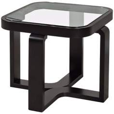 Callum Square Black and Glass Lamp Table