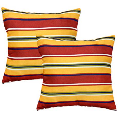 Set of 2 Carnival Stripe Outdoor Accent Pillows