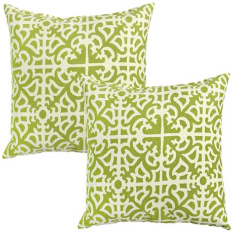 Set of 2 Grass Green Outdoor Accent Pillows