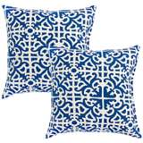 Set of 2 Indigo Blue Outdoor Accent Pillows