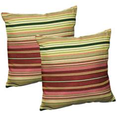 Set of 2 Kinnabari Stripe Outdoor Accent Pillows