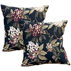 Set of 2 Midnight Floral Outdoor Accent Pillows