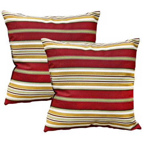 Set of 2 Roma Stripe Outdoor Accent Pillows