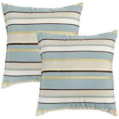 Set of 2 Spa Stripe Outdoor Accent Pillows