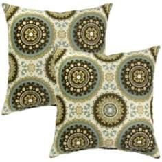 Set of 2 Spray Green Outdoor Accent Pillows