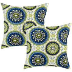 Set of 2 Summer Green and Blue Outdoor Accent Pillows