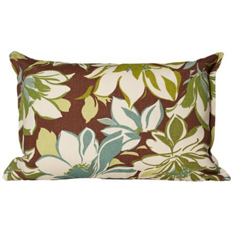 "Sarah Brown Floral 17"" Wide Outdoor Throw Pillow"
