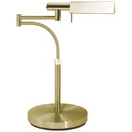 Sonneman E-Tenda Satin Brass Swing Arm Pharmacy Desk Lamp