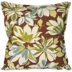 "Sarah Brown Floral 18"" Square Outdoor Throw Pillow"