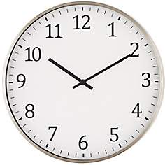 "Wilburton Satin Nickel 14"" Round Metal Wall Clock"