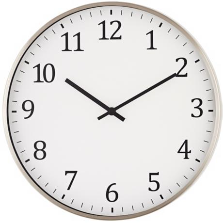 "Satin Nickel 14"" Round Metal Wall Clock"