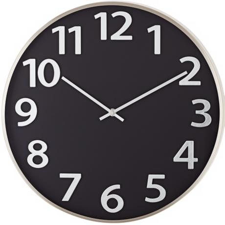 "Black and Satin Nickel 16"" Round Contemporary Wall Clock"