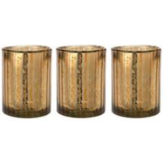 Set of 3 Jamie Young Italian Gold Glass Hurricanes
