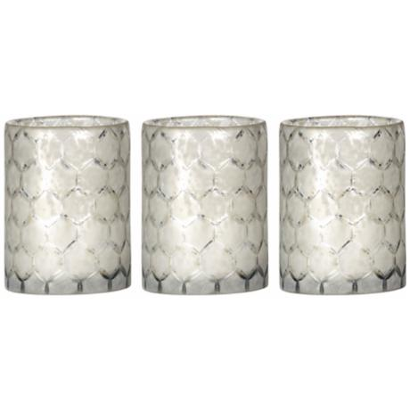 Set of 3 Jamie Young Lattice Glass Hurricanes
