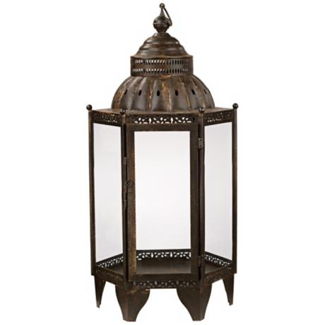 "Jamie Young 32"" High Bronze Moroccan Lantern"