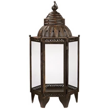 "Jamie Young 27"" High Bronze Moroccan Lantern"