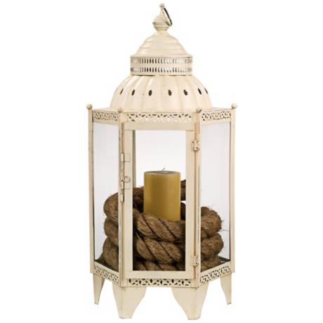 "Jamie Young 27"" High White Moroccan Lantern"