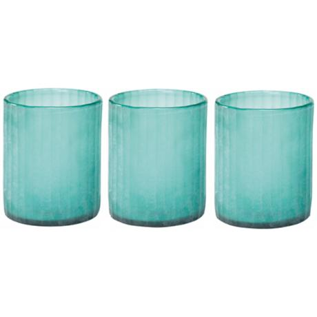 Set of 3 Jamie Young Sea Glass Hurricane Candle Holder