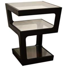 Clara 3-Tier Black Modern End Table
