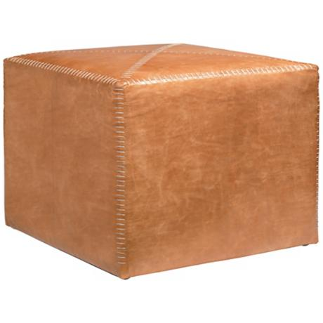 Jamie Young Large Square Buff Leather Ottoman