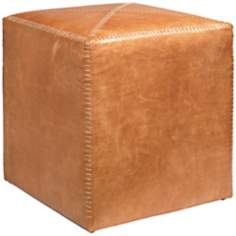 Jamie Young Small Square Buff Leather Ottoman