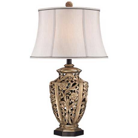 Possini Openwork Antique Silver Table Lamp