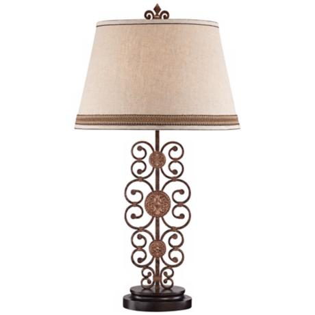 Possini Metal Scroll Medallion Table Lamp