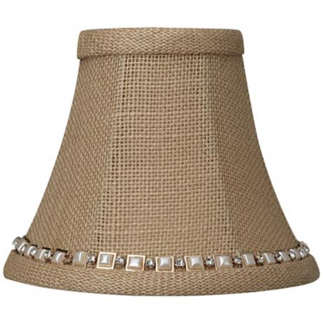 Beige Burlap Jewel Trim Shade 3x6x5 (Clip-On)