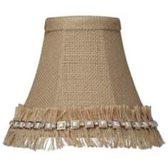 Beige Burlap Jewel Ruffle Trim Shade 3x6x5 (Clip-On)