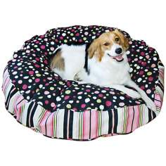 Happy Hounds Scout Deluxe Black and Pink Small Round Dog Bed