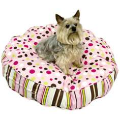 Happy Hounds Scout Deluxe Brown and Pink Small Round Dog Bed