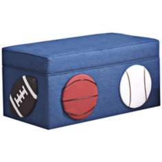 Kids 3-Sport Blue Denim Storage Bench