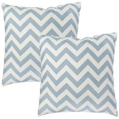 Set of 2 Blue Zig Zag Toss Pillows