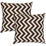 Set of 2 Brown Zig Zag Toss Pillows