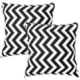 Set of 2 Black and White Zig Zag Toss Pillows