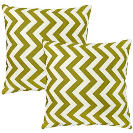 Set of 2 Green Zig Zag Toss Pillows