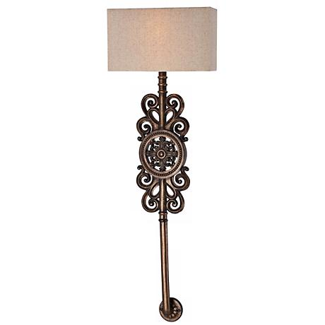 "Regents Row 36 1/2"" High Patina Bronze Wall Sconce"
