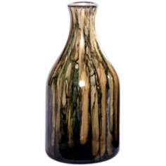 Pine Green Small Hand-Blown Glass Bottle