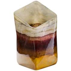 Horizon Small Hand-Blown Glass Square Slant Vase