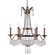 "August 27 1/2"" Wide Gilded Silver Crystal Chandelier"