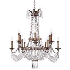 "August 35 1/2"" Wide Gilded Silver Crystal Chandelier"